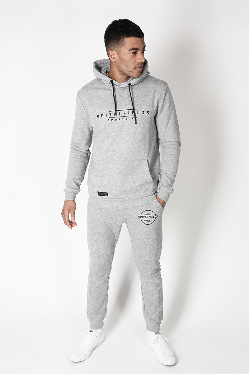 Hoodie with Signature Chest Graphic Print in Grey Marl
