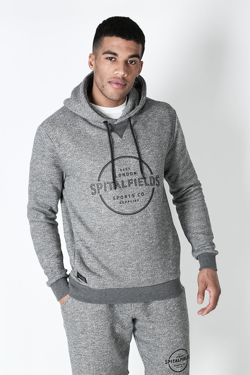 Hoodie with Concealed Pocket & Graphic Print in Grey Grindle