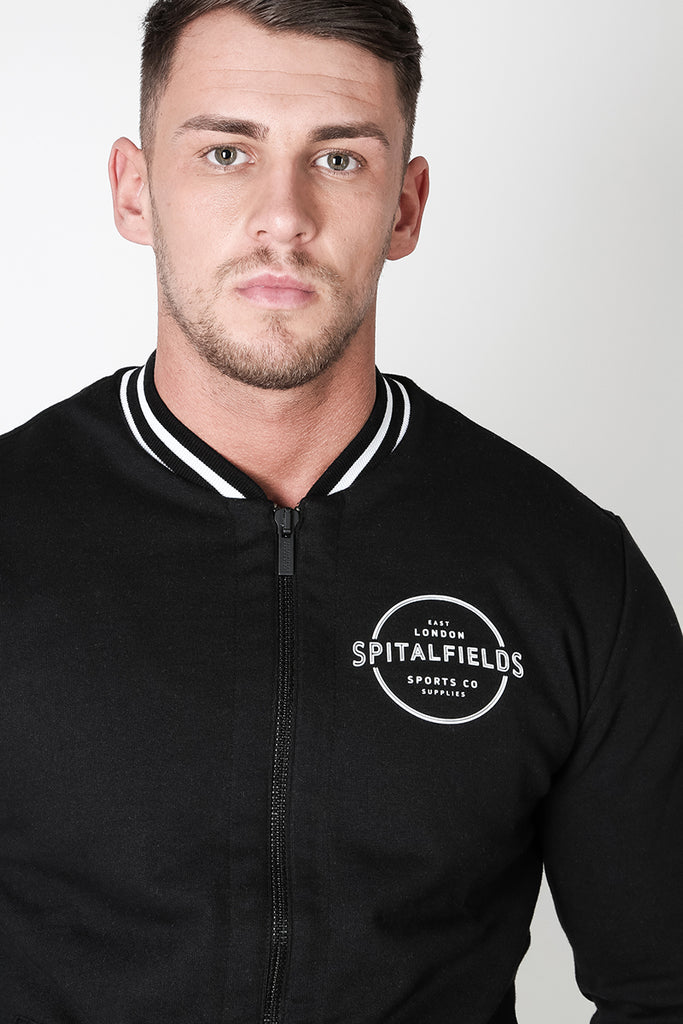 Bomber Zip-through Sweat with Contrast Tipping in Black