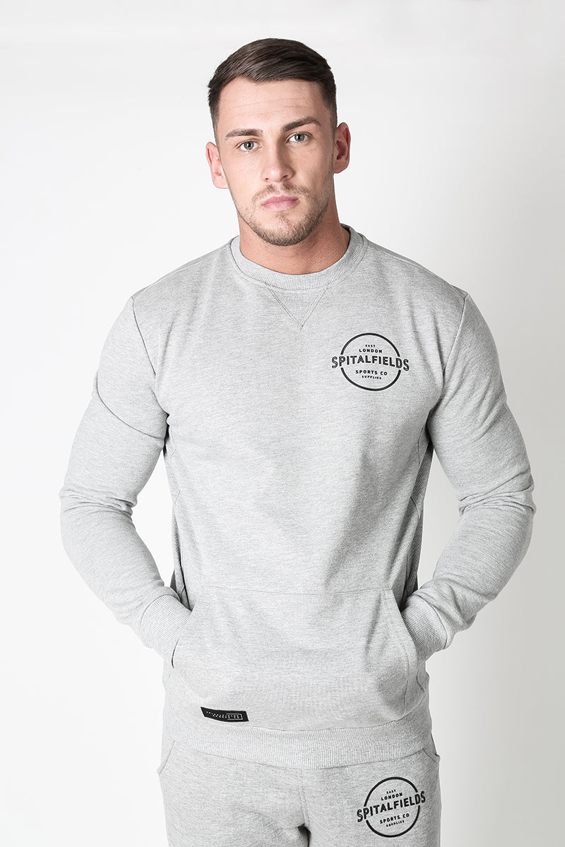 Crew Neck Sweat with Graphic Print in Grey Marl