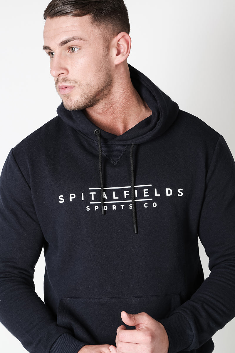Hoodie with Signature Chest Graphic Print in Navy