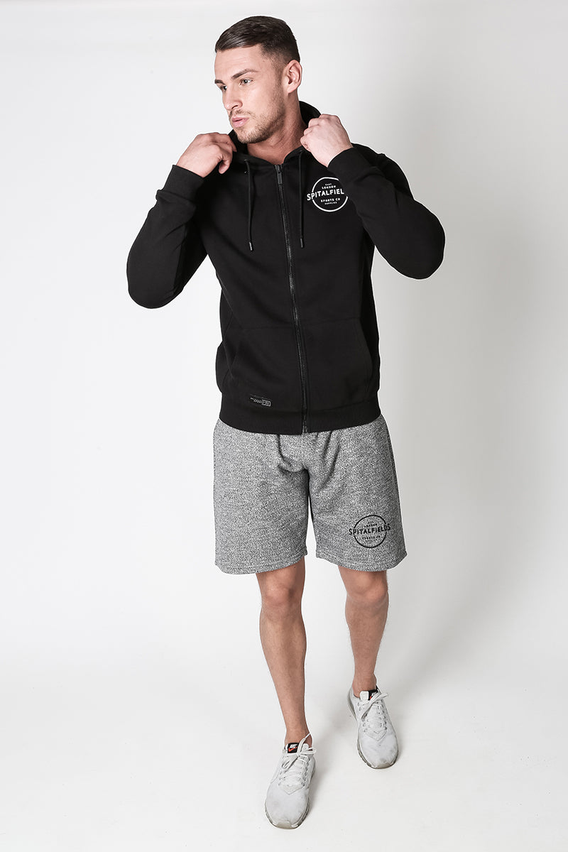 Zip Through Hoodie with Graphic Print in Black