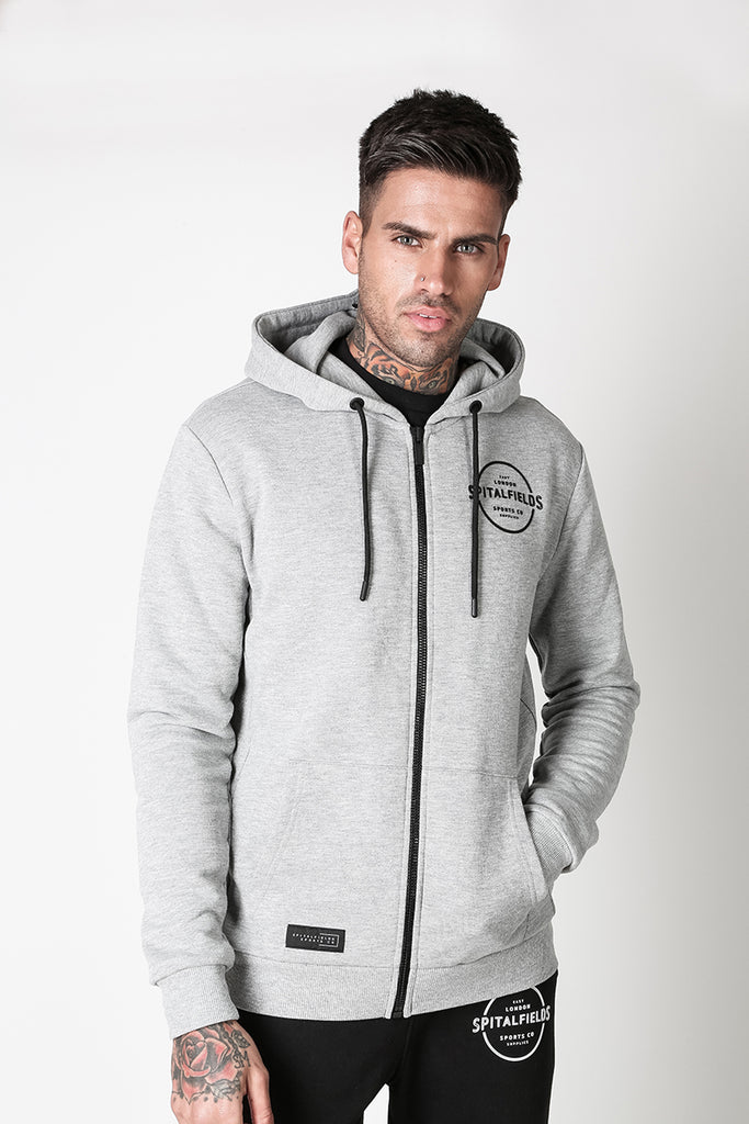 Zip Through Hoodie with Graphic Print in Grey Marl