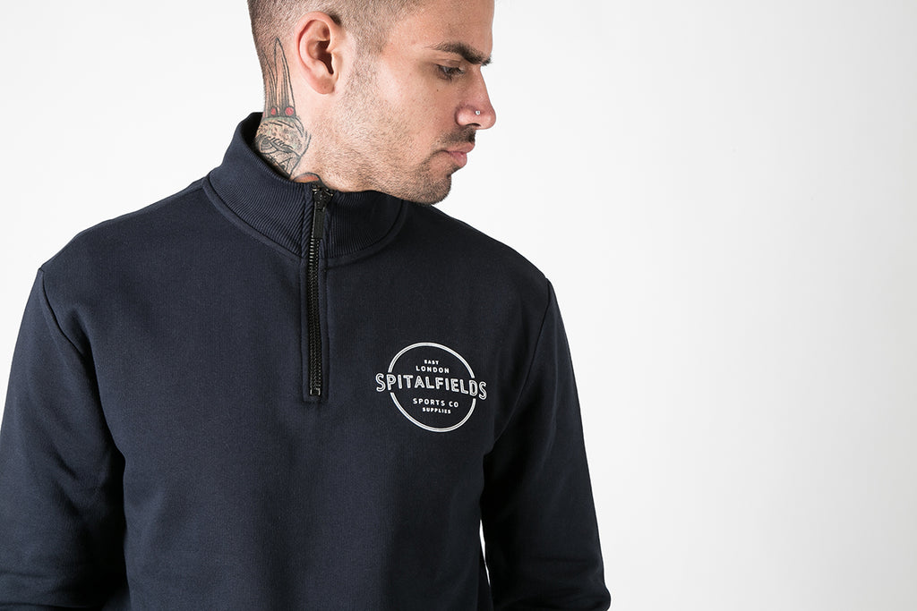 Zip Funnel Neck with Graphic Print in Navy
