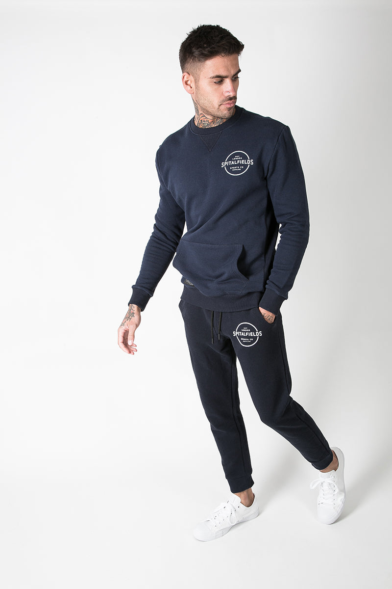 Crew Neck Sweat with Graphic Print in Denim