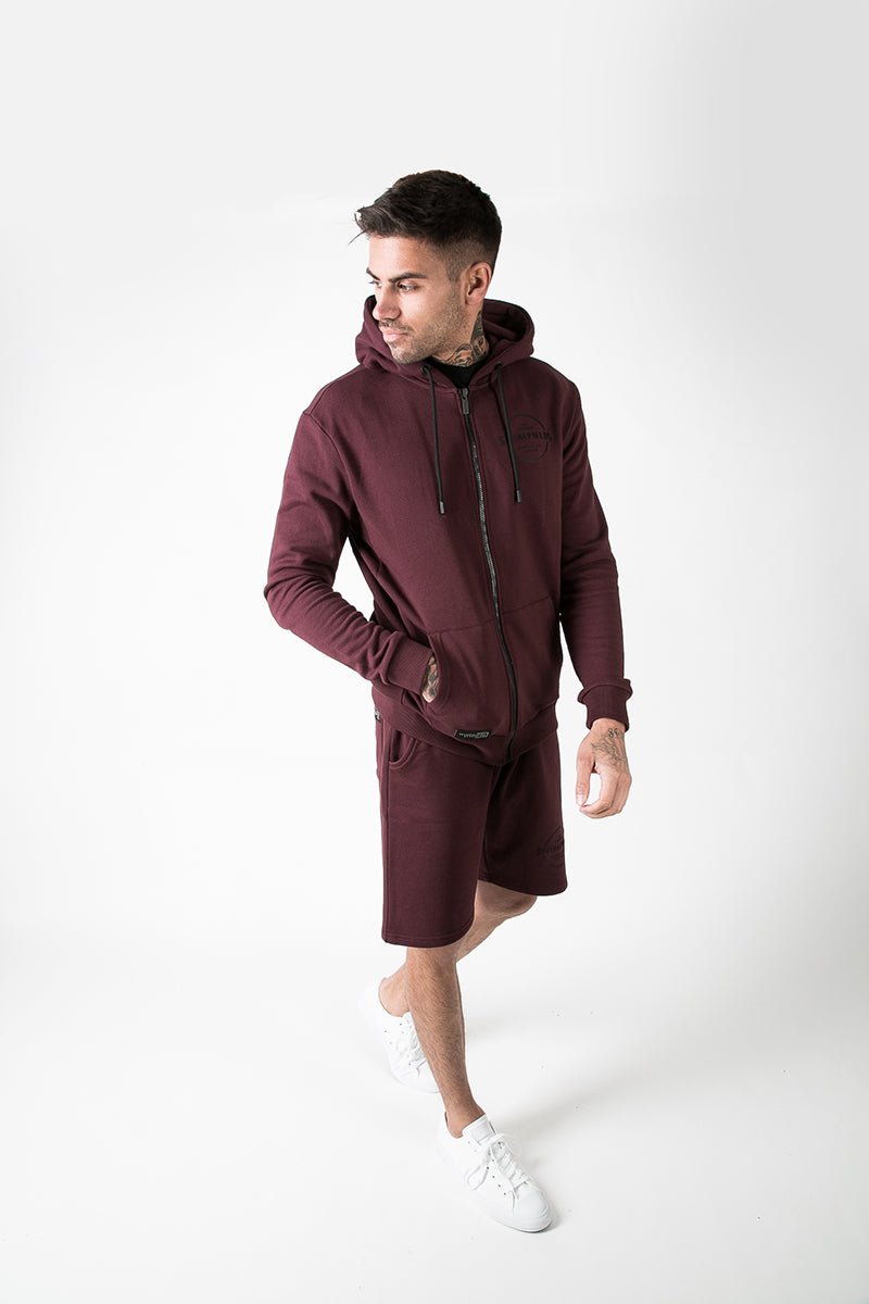 Zip Through Hoodie with Graphic Print in Burgundy