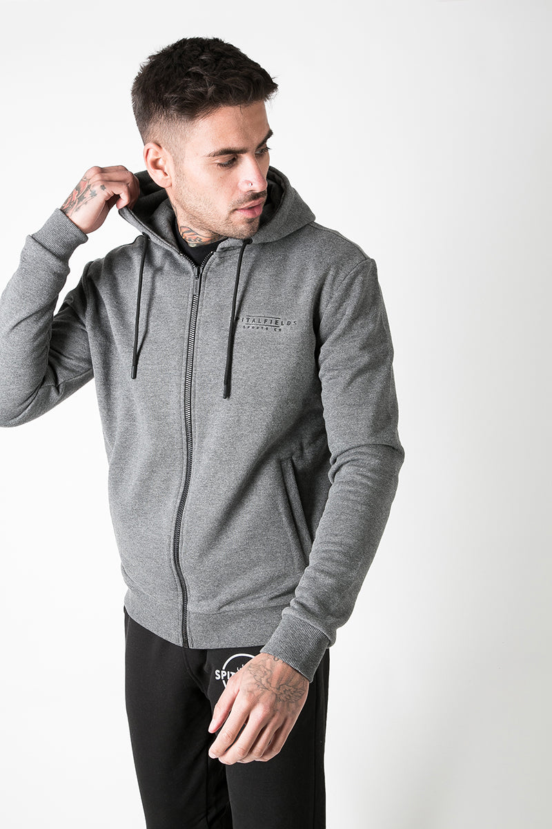 Zip Through Graphic Print Hoodie in Charcoal Marl