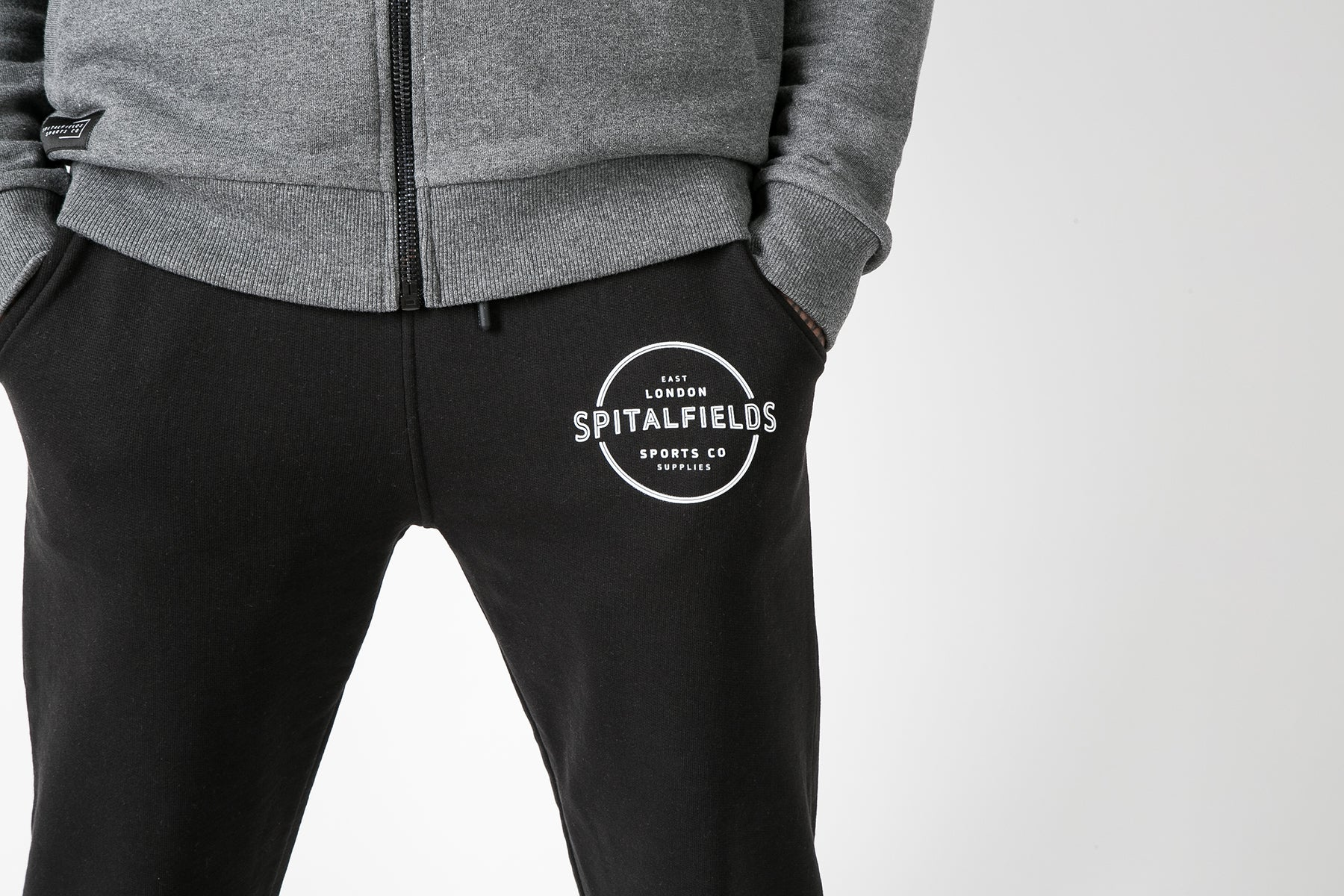 Athletic Fit Panel Jogger with Graphic Print in Black