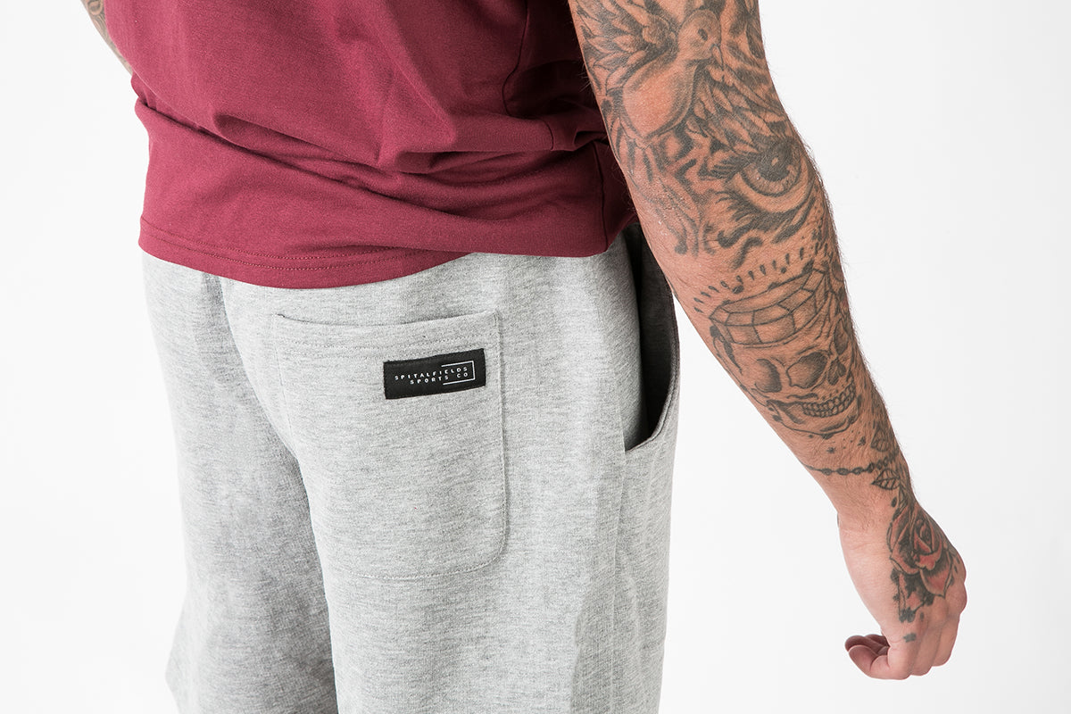 Core Sweat Shorts with Graphic Print in Grey Marl