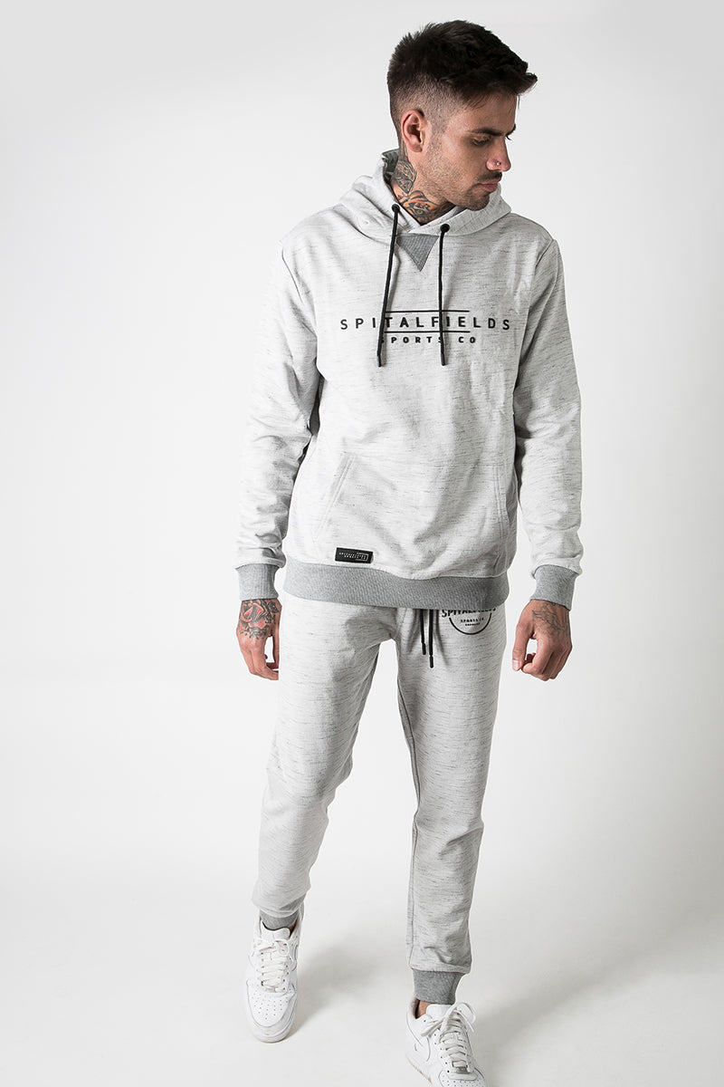 Hoodie with Signature Chest Graphic Print in Grey Grindle