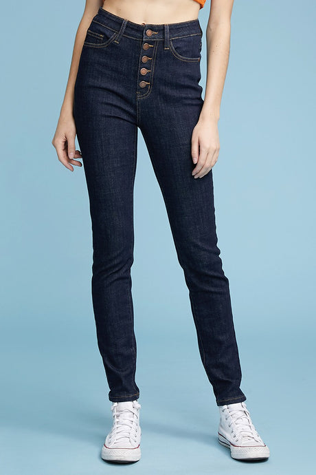 Button Fly High-Waist Skinny