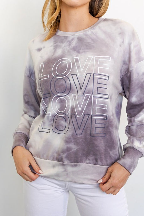 Love Graphic Tie Dye Top