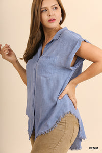 Washed Denim Button Up Top