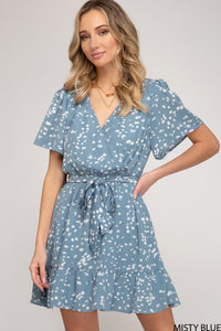 Misty Blue Print Dress