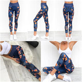 Blue Summer High Waist Leggings