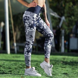 Camouflage Lace Up Waist Leggings