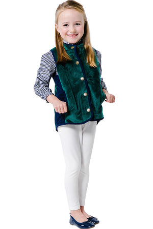 Vest with Quilted Faux Suede in Hunter Green