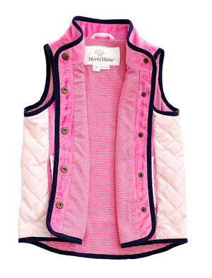 Vest in Pink with Navy Blue Piping and Blush Quilting