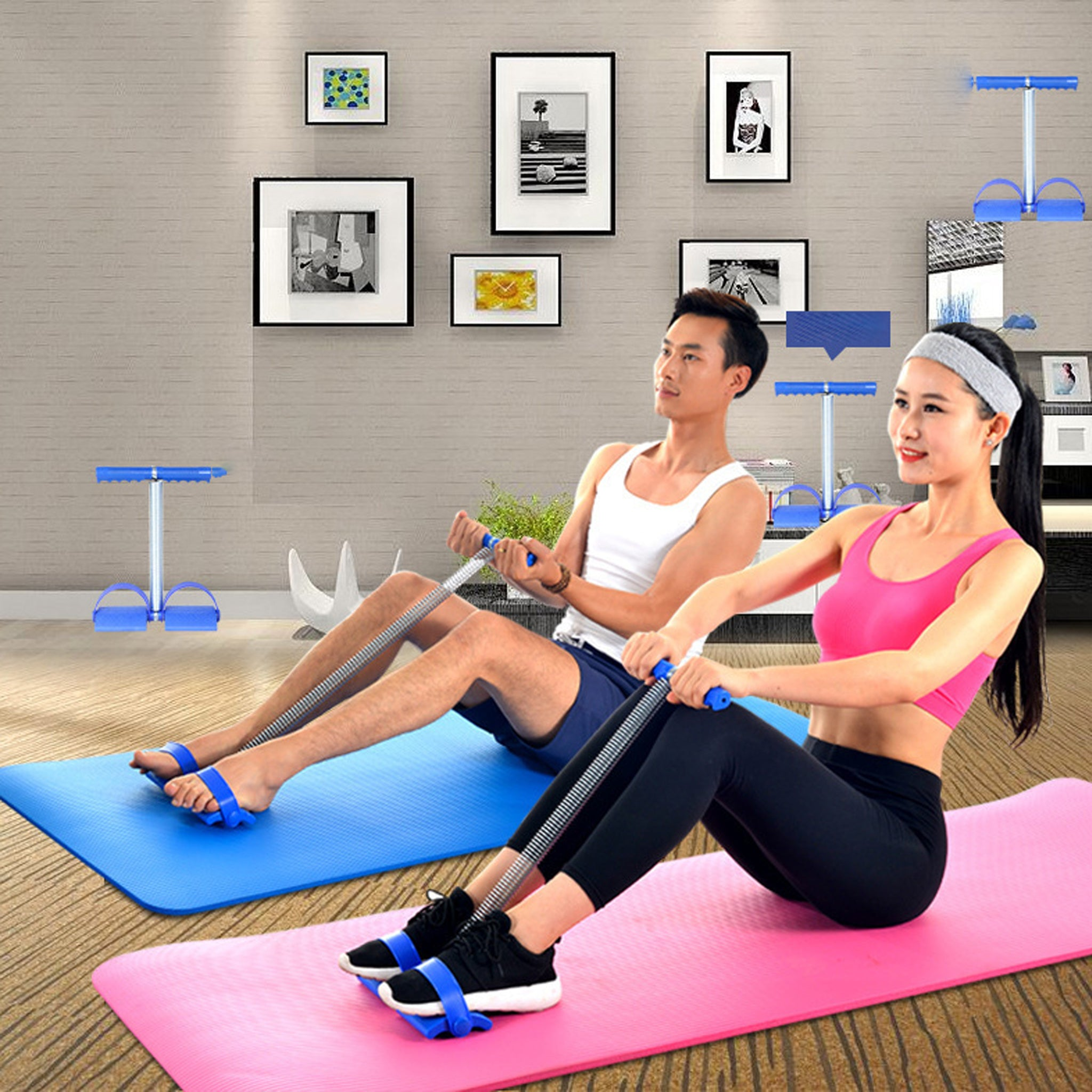 Fitness Sportswear Sit-ups Rally Abdomen Leg Trainer Spring Pedals Drawstring Resistance Band Yoga Stretch Rope