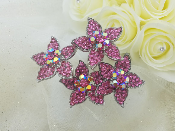 Large & Long Pink Crystal Flower Hair Stick