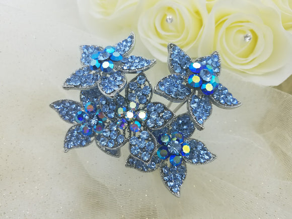 Large & Long Blue Crystal Flower Hair Stick