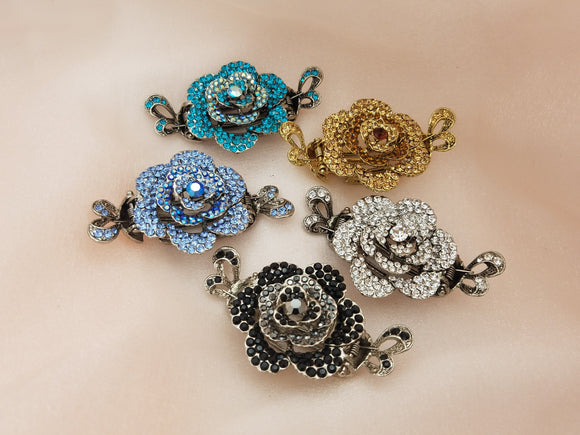 Large Rose Crystal Flat Jaw Hair Clip - in 5 colors
