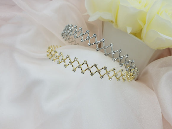 Rhombus Metal with Crystals Headband - in 2 colors
