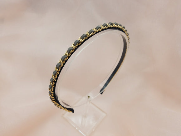 Thin Suede with Gold Chain No Teeth Headband - in 9 colors