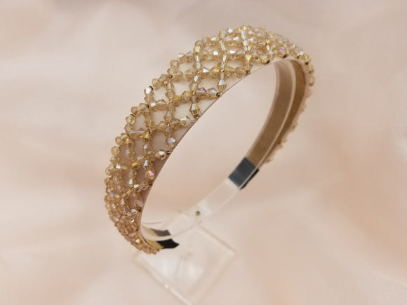 Thick and Hard Type Tone on Tone Color Beaded Headband - 2 colors left!