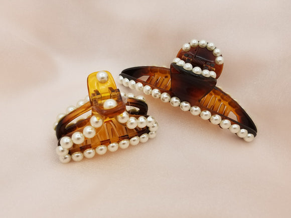 Brown Body Light Weight Cellulose Pearls Decorated Hair Jaw Clip - in 2 Sizes