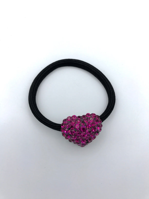Cute Heart Crystal Ponytail Elastic Holder - in 4 colors