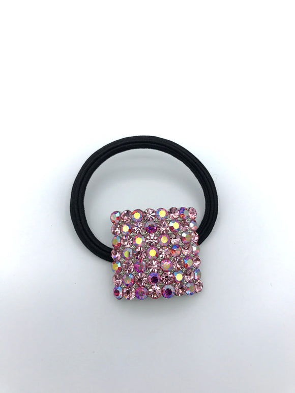 Large Square Crystal Elastic Ponytail Holder