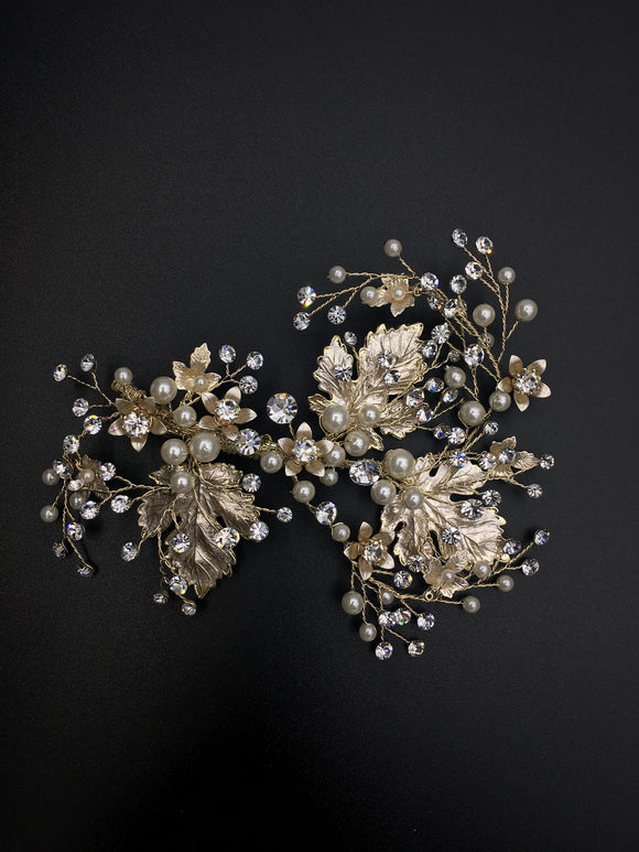 Vintage Wedding Leaves with Pearl Touch Open Type Hair Clip - in 2 colors