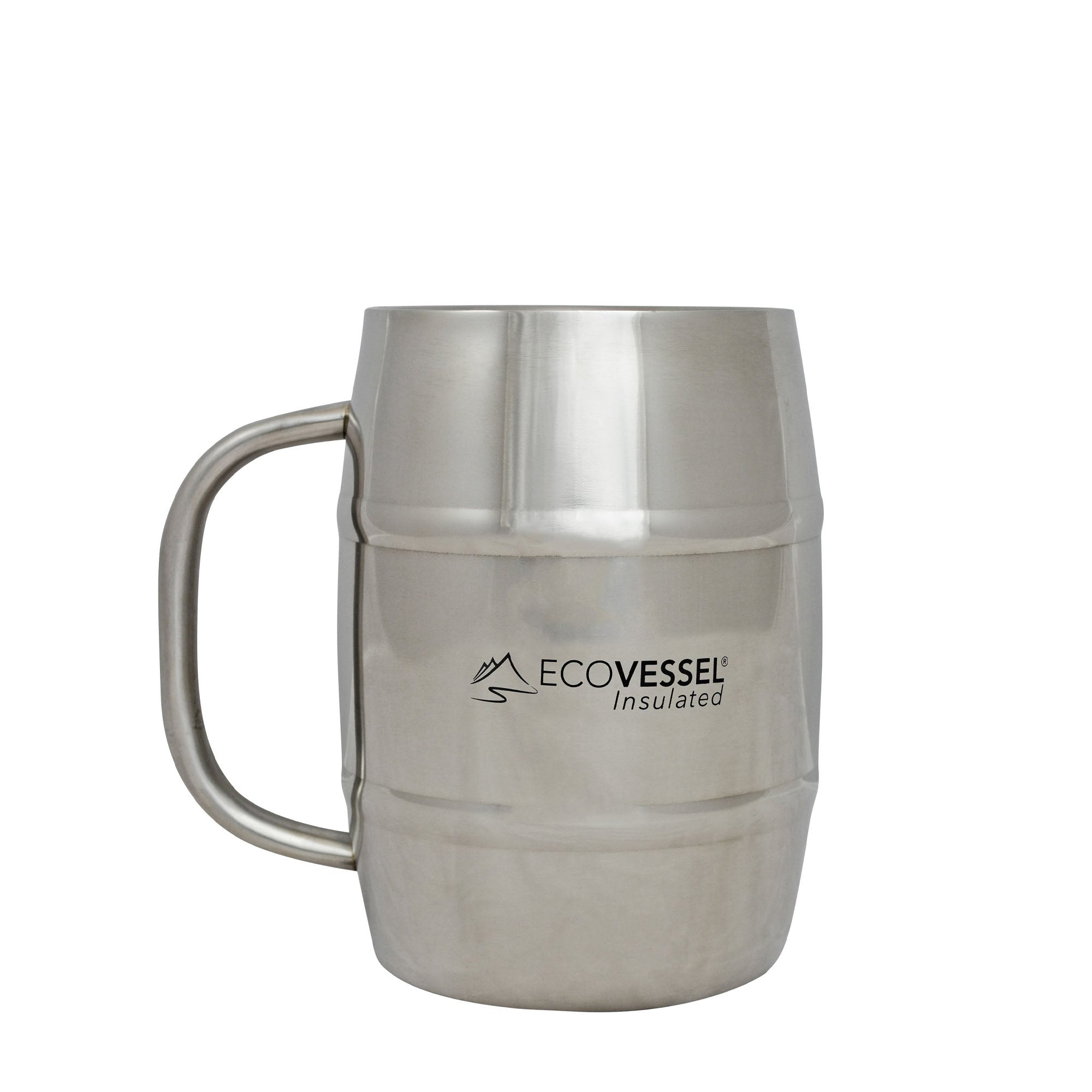 DOUBLE TROUBLE Insulated Beer / Coffee Mug - 32 oz - Silver Express with Gray Lid