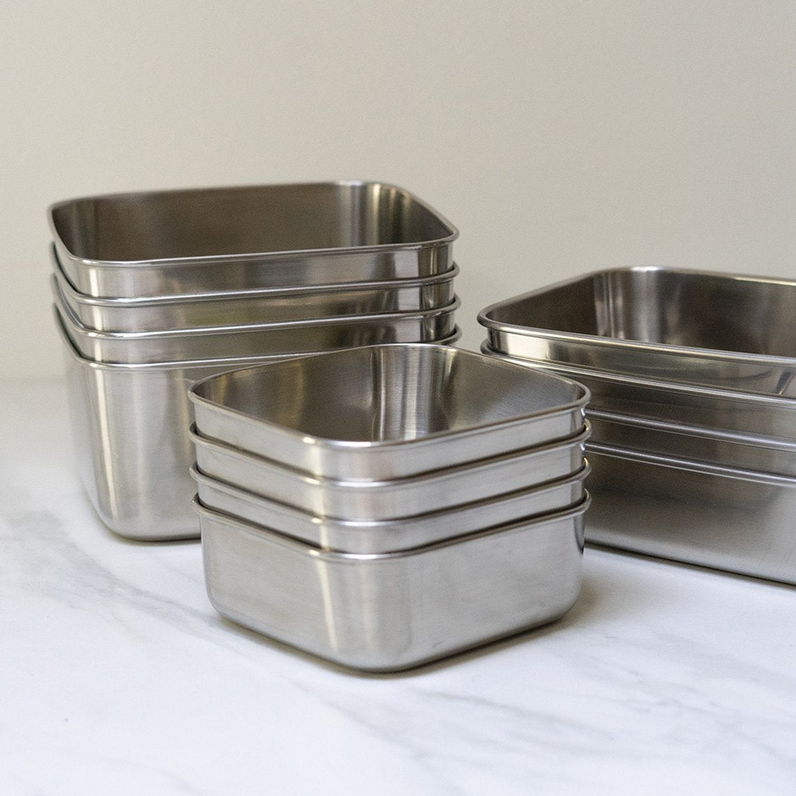 Divided Square Stainless Steel To-Go Containers