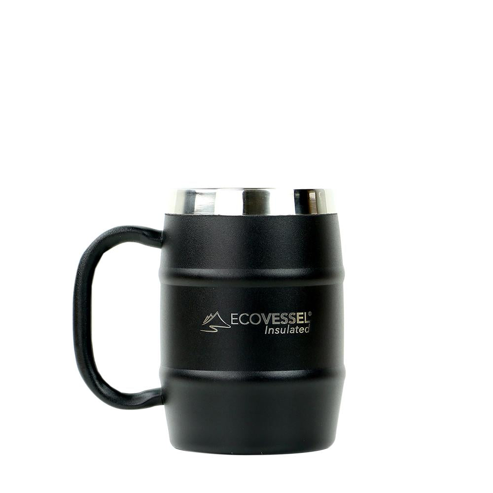 DOUBLE BARREL Stainless Steel Insulated Coffee Mug / Beer Mug with Lid - Silver, Matte & Moscow Mule Copper - 16 oz