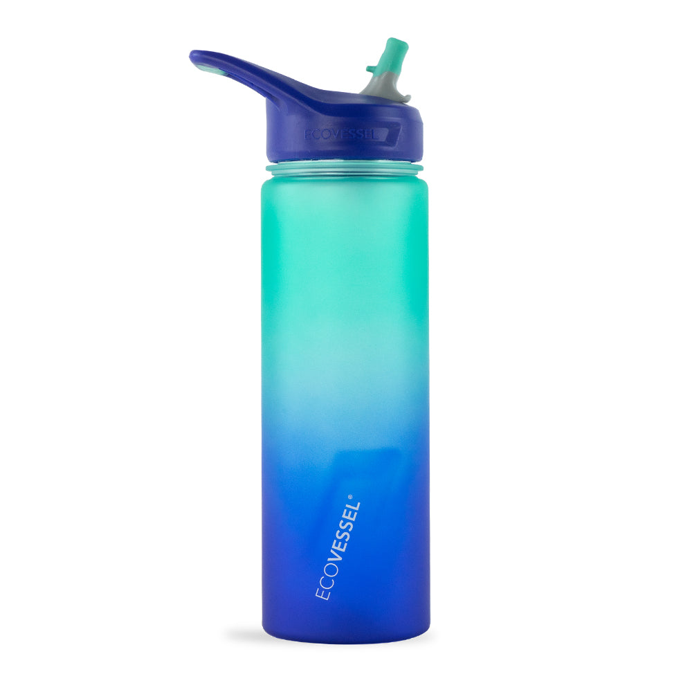 THE NEW WAVE - BPA Free Plastic Sports Water Bottle With Straw - 24 oz
