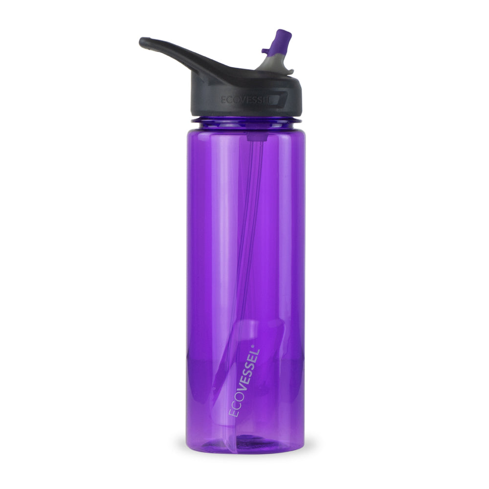 THE WAVE - BPA Free Plastic Sports Water Bottle With Straw - 24 oz