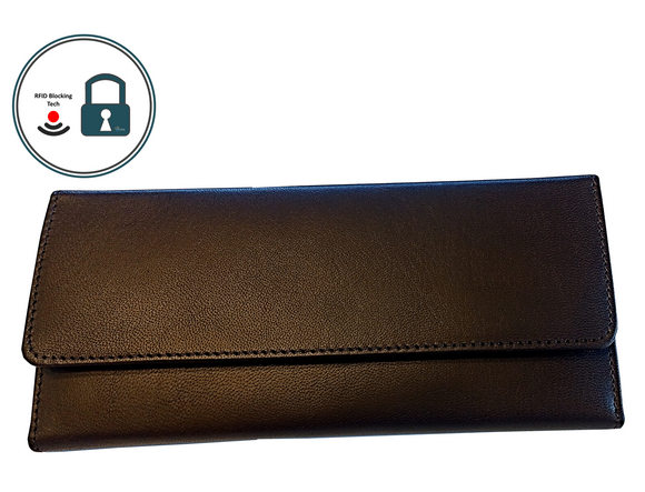Have Brandy Women's Envelope Serena Goatskin Leather Wallet (Dark Brown)