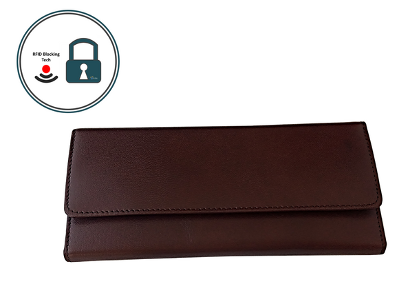 Have Brandy Women's Envelope Serena	 Goatskin Leather Wallet (Mahogany)