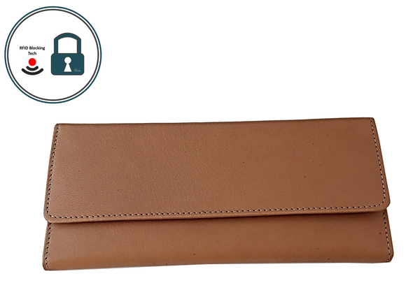 Have Brandy Women's Envelope Serena	 Goatskin Leather Wallet (Natural)