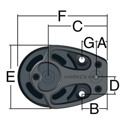 Harken 57mm Aluminum Footblock w/ Lockoff