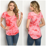 Red tie dye top