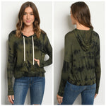 Olive tie dye long sleeve hooded top