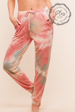 PLUS tie dye pocket joggers