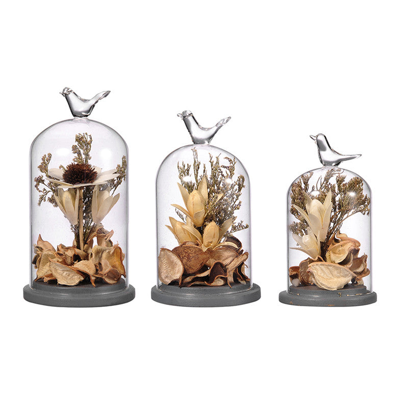 Crystal Terrarium Decor with Dried Flower