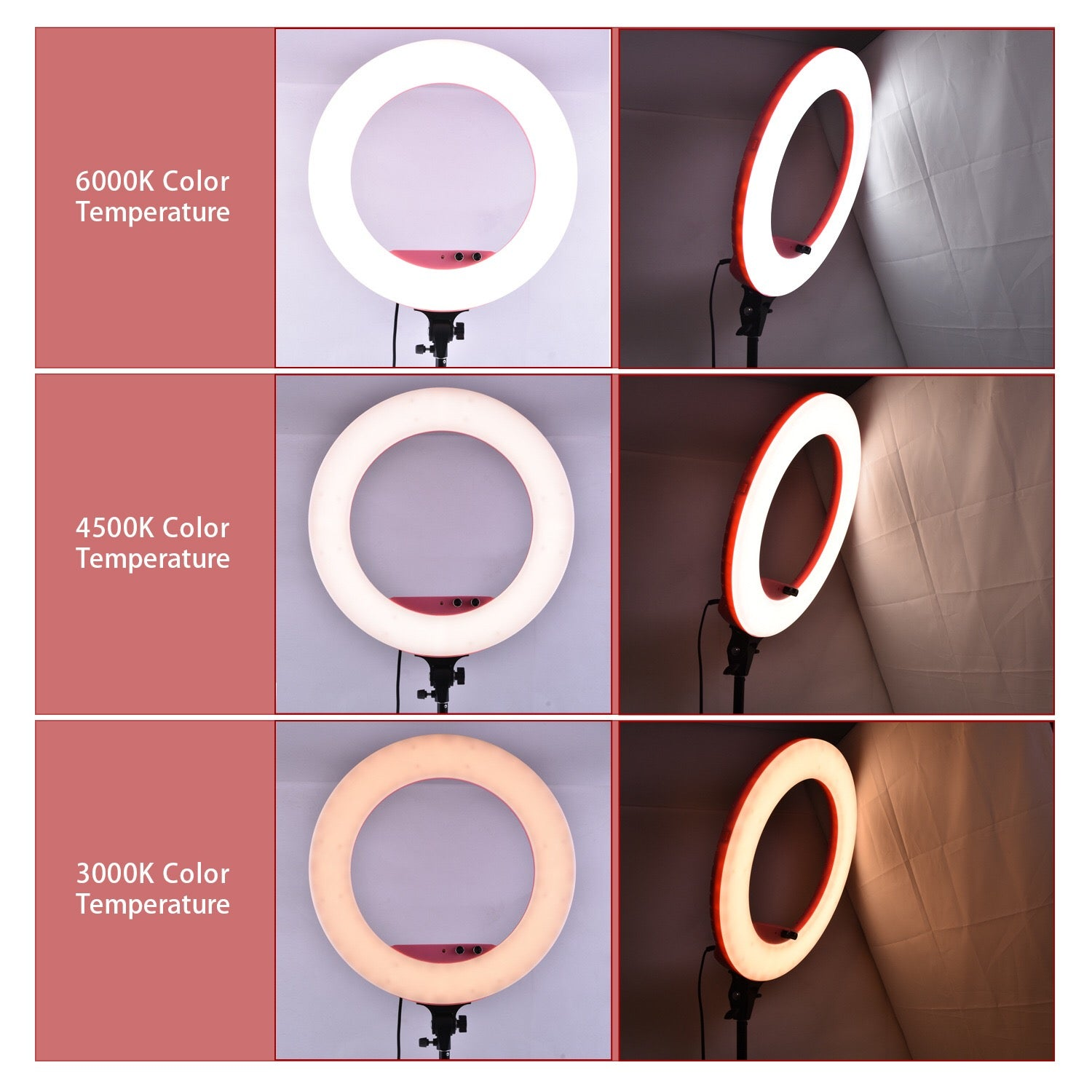 Dimmable LED Vanity Studio Ring Light With Remote Control