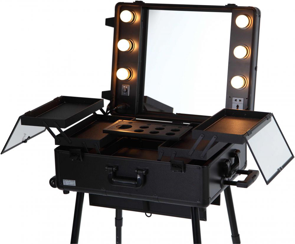 Pro Studio Artist Makeup Train Case with Lights - Midnight Black