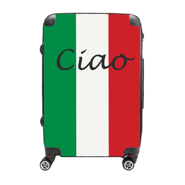 Ciao in Tricolour - Singular Luggage Custom Luggage and Backpacks.  Design your own artwork decoration.