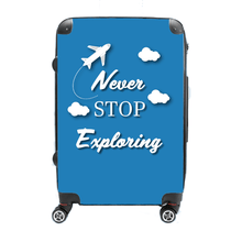 Never Stop Exploring - Singular Luggage Custom Luggage and Backpacks.  Design your own artwork decoration.